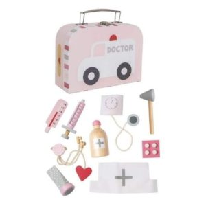 Maletín de doctor en color rosa de Jabadabado con accesorios.Juguete respetuoso con el medio ambiente