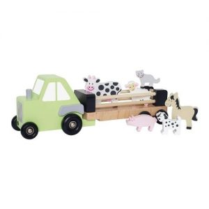 Camión tractor con remolque de juguete en madera con animales