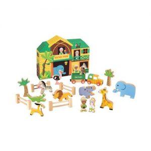 Set de animales de safari con escenario. Juguete de madera y ecológico de Janod