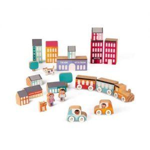 Bloques de madera infantiles para construir una ciudad de Janod. Juguete ecológico