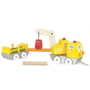 Camión grúa de juguete en madera de Janod. Juguete respetuoso con el medio ambiente