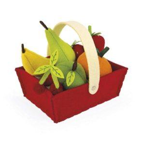 Cesta de frutas de fieltro de Janod. Alimentos de tela ecológicos