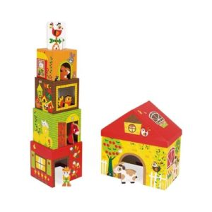 Cubos apilables de cartón ecológico de Janod con temática de la granja y sus animales