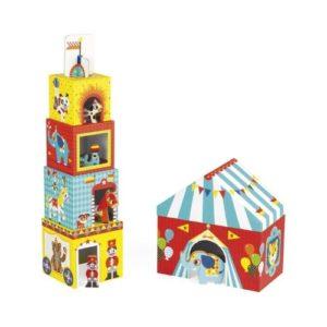 Cubos apilables de cartón de Janod con temática de circo. Regalo para babyshower ecológico