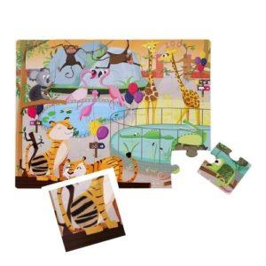 Rompecabezas infantil de cartón ecológico de 20 piezas sobre animales salvajes. Rompecabezas táctil con diferentes texturas