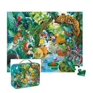 Puzzle de 100 piezas de cartón ecológico sobre aventuras en la selva con animales salvajes. Maletín de cartón para guardar las piezas