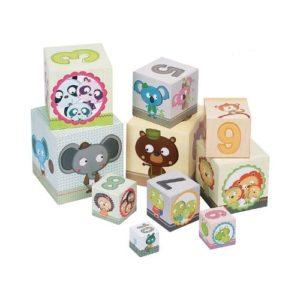 Cubos de apilar en cartón con números y animales. Juguete para bebé ecológico
