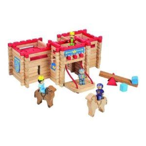 Castillo de bloques para construir en madera de Jeujura. Juguete respetuoso con el medio ambiente