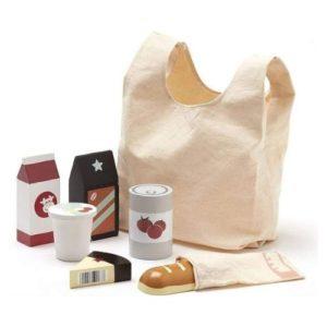 Bolsa de tela para ir a la compra y alimentos de juguete en madera ecológica de Kids Concept