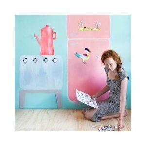Piezas magnéticas de Kindonroof de cartón ecológico. Tangram de Studioroof para decorar