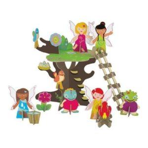 Playset 3D de árbol de las hadas de Krooom en cartón ecológico. Puzles de cartón infantiles