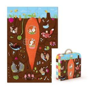 Puzles de cartón ecológico de Krooom sobre la vida bajo tierra. Rompecabezas infantil de animales con maletín para guardar las piezas