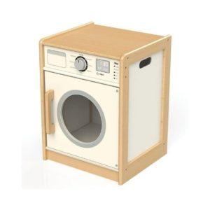 lavadora de juguete hecha en madera de la marca Tidlo. Juguete ecológico
