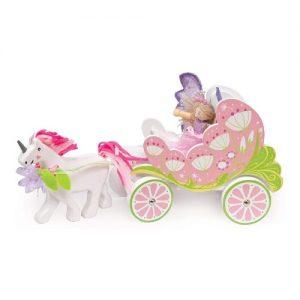 Carro de hadas tirado por un unicornio todo en madera