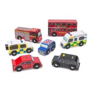 Set de 7 coches típicos de Londres en madera de Le Toy Van. Juguete respetuoso con el medio ambiente