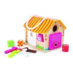 Juego ecológico de encajar piezas. Casa de madera de Legler