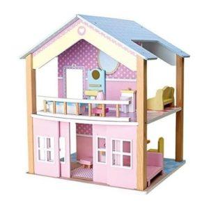 Casas de muñecas de madera en color rosa de Legler. Juguete respetuoso con el medio ambiente