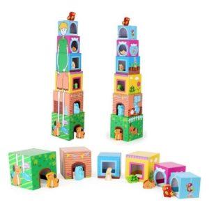 Cubos de apilar de madera con figuras de Legler. Juguete respetuoso con el medio ambiente