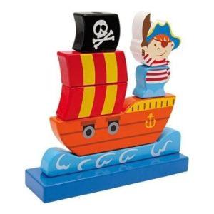 Juego ecológico de apilar bloques con forma de barco pirata de Legler