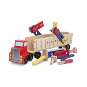 Camión de madera con herramientas de bricolaje para niños de Melissa & Doug. Juguete ecológico