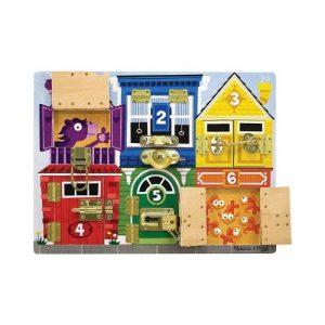Tablero de pestillos multicolor infantil en madera de Melissa & Doug