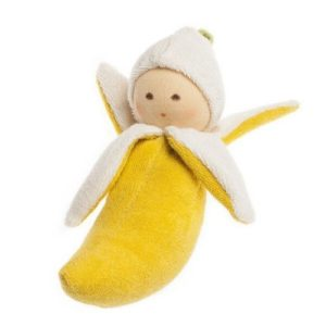Muñeco de inspiración Waldorf de tela ecológica para bebés y recién nacidos. Regalo para babyshower