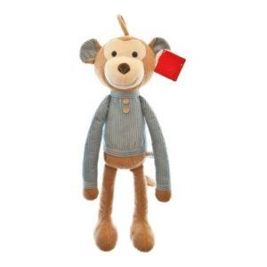 Muñeco de tela con fomra de mono en materiales ecológicos