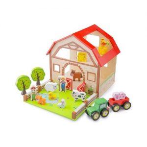 Granja de madera infantil en madera con accesorios. De New Classic Toys