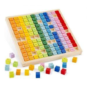 puzle de madera para aprender la tabla de multiplicar