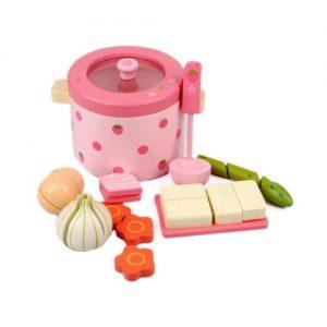 Olla de juguete en madera con alimentos. Juguete ecológico