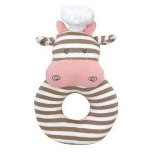 Sonajero de vaca en material ecológico para bebés. Regalos para bebés y babyshower