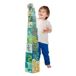 Apilables de cartón con números, letras y animales marinos de Petit Collage. Juguete ecológico