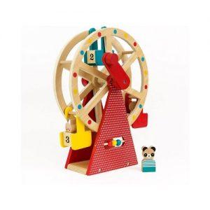 Noria de madera con manivela para jugar. Juguete ecológico en madera