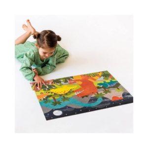 Puzzle de cartón ecológico de dinosaurios de Petit Collage. Rompecabezas infantil