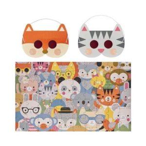 Puzzle de cartón ecológico con gafas decodificadoras de Petit Collage. Rompecabezas de animales para niños