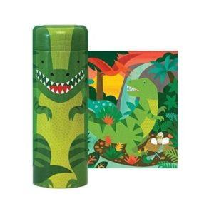 Puzles de cartón ecológico con temática de dinosaurios de Petit Collage con hucha de metal. Rompecabezas infantil de cartón