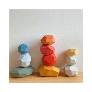 Piedras de equilibrio en madera para niños. Juguete respetuoso con el medio ambiente