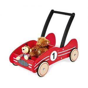Andador infantil de madera con forma de coche de carreras de Pinolino. Juguete ecológico