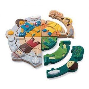 puzzle de madera para niños sobre el tiempo metereológico