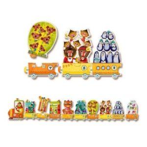 Puzzle infantil de cartón ecológico con números y animales montados en un tren. Rompecabezas de aprendizaje