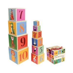 Cubos apilables de cartón con números y animales de Rex London. Regalo ecológico para babyshower