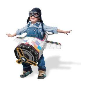 Disfraz de avión de cartón de Ricco Kids. Juguete ecológico infantil