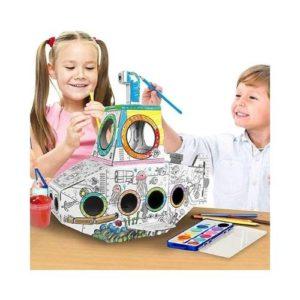 Submarino 3D de cartón para ensamblar y decora de Ricco Kids. Manualidades para niños ecológicas