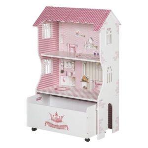 Casas de muñecas de madera en color rosa con cajón estantería de Roba Kids. Juguete respetuoso con el medio ambiente