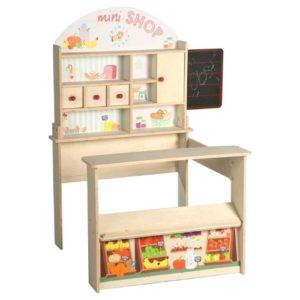 Tienda con mostrador de juguete en madera de Roba Kids. Juguete respetuoso con el medio ambiente