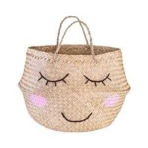 Canasta cesta de mimbre y yute ecológico para guardar juguetes de Sass & Belle