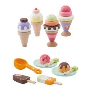 Set de helados de juguete fabricados en madera de Sevi. Juguete respetuoso con el medio ambiente