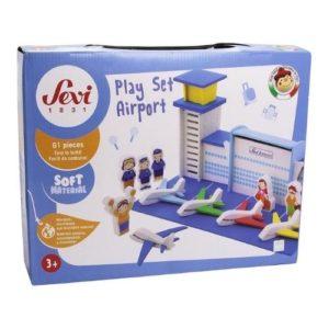 Play set airport de Sevi en madera. Set de aeropuerto de juguete. Juguete respetuoso con el medio ambiente