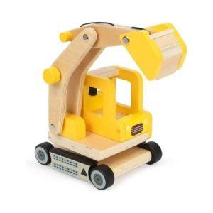 Excavadora de juguete en madera de Small Foot Company. Juguete respetuoso con el medio ambiente