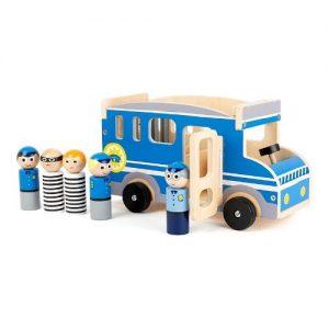 Furgón de policía de madera en color azul con figuras